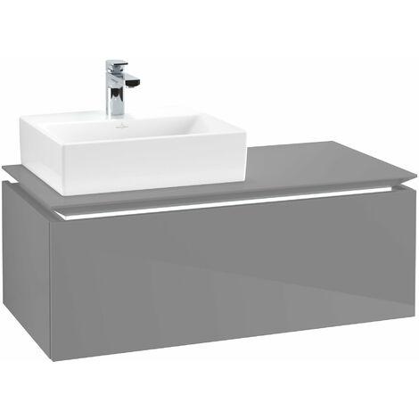 Villeroy & Boch Legato Vanity unit B107L0, 1000x380x500mm, lavabo a la izquierda, iluminación LED, color: Gris brillante - B107L0FP