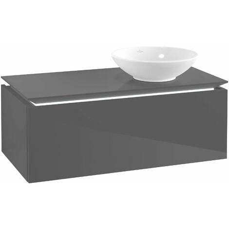 Villeroy & Boch Legato Vanity unit B108, 1000x380x500mm, lavabo a la derecha, iluminación LED, color: Gris brillante - B108L0FP