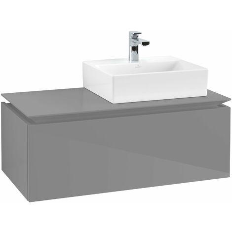 Villeroy & Boch Legato Vanity unit B10900, 1000x380x500mm, lavabo a la derecha, color: Gris brillante - B10900FP