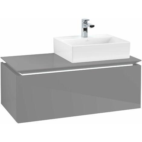 Villeroy & Boch Legato Vanity unit B109L0, 1000x380x500mm, lavabo a la derecha, iluminación LED, color: Gris brillante - B109L0FP