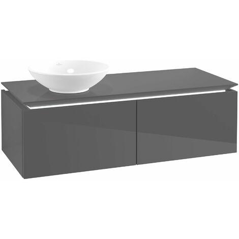 Villeroy & Boch Legato Vanity unit B110, 1200x380x500mm, lavabo a la izquierda, iluminación LED, color: Gris brillante - B110L0FP