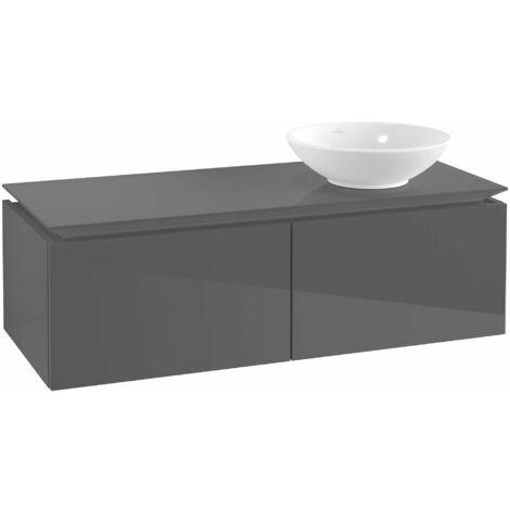 Villeroy & Boch Legato Vanity unit B111, 1200x380x500mm, lavabo a la derecha, color: Gris brillante - B11100FP