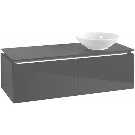 Villeroy & Boch Legato Vanity unit B111, 1200x380x500mm, lavabo a la derecha, iluminación LED, color: Gris brillante - B111L0FP