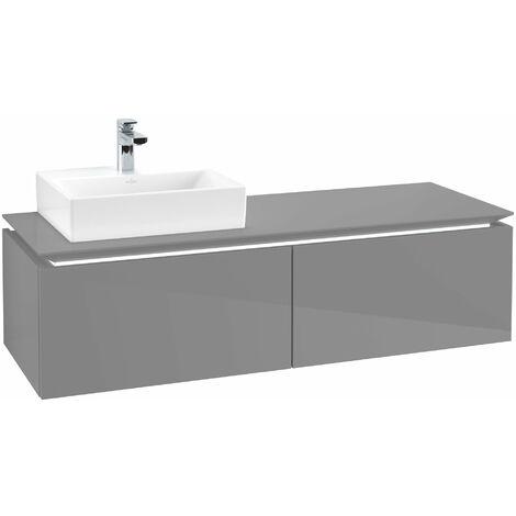 Villeroy & Boch Legato Vanity unit B113, 1400x380x500mm, lavabo a la izquierda, iluminación LED, color: Gris brillante - B113L0FP