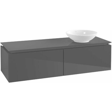 Villeroy & Boch Legato Vanity unit B114, 1400x380x500mm, lavabo a la derecha, color: Gris brillante - B11400FP