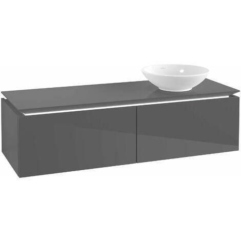 Villeroy & Boch Legato Vanity unit B114, 1400x380x500mm, lavabo a la derecha, iluminación LED, color: Gris brillante - B114L0FP