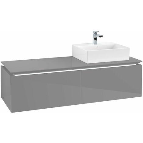 Villeroy & Boch Legato Vanity unit B115, 1400x380x500mm, lavabo a la derecha, iluminación LED, color: Gris brillante - B115L0FP