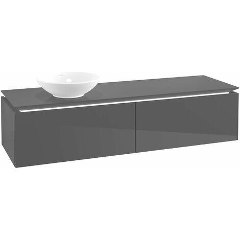 Villeroy & Boch Legato Vanity unit B116LO, 1600x380x500mm, lavabo a la izquierda, iluminación LED, color: Gris brillante - B116L0FP