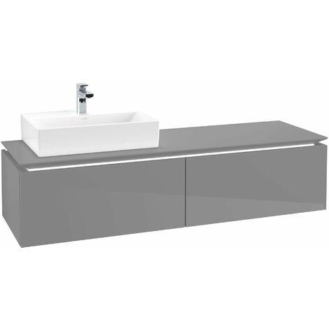 Villeroy & Boch Legato Vanity unit B117, 1600x380x500mm, lavabo a la izquierda, iluminación LED, color: Gris brillante - B117L0FP