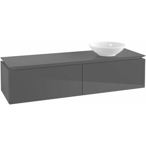 Villeroy & Boch Legato Vanity unit B118, 1600x380x500mm, lavabo a la derecha, color: Gris brillante - B11800FP