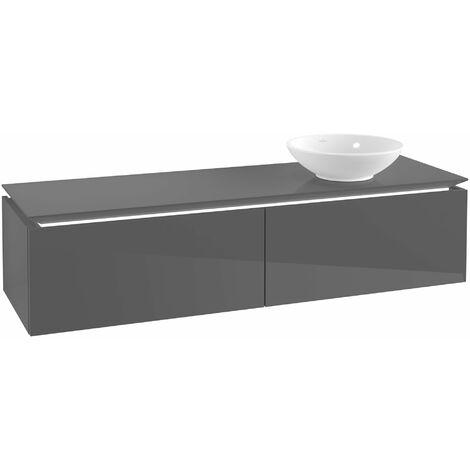 Villeroy & Boch Legato Vanity unit B118, 1600x380x500mm, lavabo a la derecha, iluminación LED, color: Gris brillante - B118L0FP