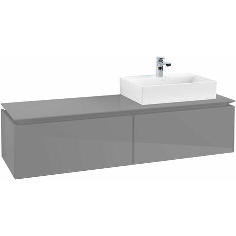 Villeroy & Boch Legato Vanity unit B119, 1600x380x500mm, lavabo a la derecha, color: Gris brillante - B11900FP