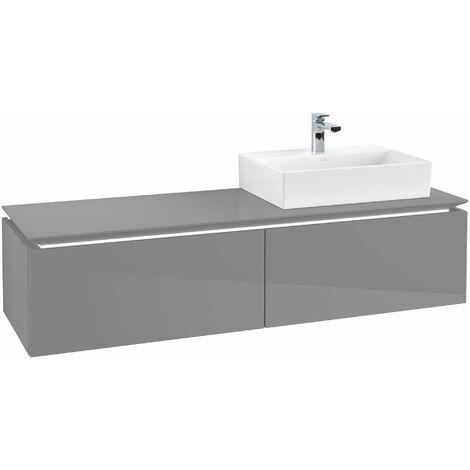 Villeroy & Boch Legato Vanity unit B119, 1600x380x500mm, lavabo a la derecha, iluminación LED, color: Gris brillante - B119L0FP