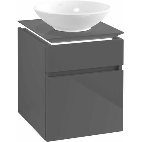Villeroy & Boch Legato Vanity unit B120, 450x550x500mm, washbasin centre, LED lighting, colour: Glossy Grey - B120L0FP