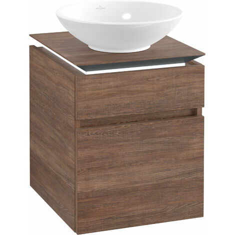 Villeroy & Boch Legato Vanity unit B120, 450x550x500mm, washbasin centre, LED lighting, colour: Santana Oak - B120L0E1