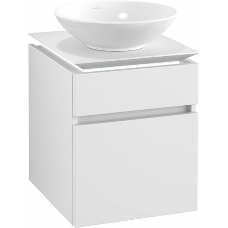Villeroy & Boch Legato Vanity unit B120, 450x550x500mm, washbasin centre, LED lighting, colour: White Matt - B120L0MS