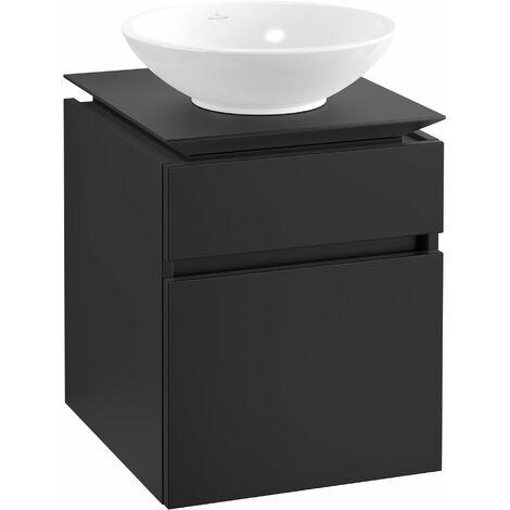 Villeroy & Boch Legato Vanity unit B120, 450x550x500mm, washbasin centric, colour: Black Matt Lacquer - B12000PD