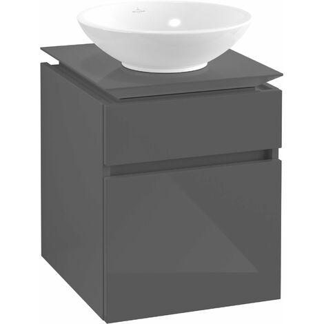 Villeroy & Boch Legato Vanity unit B120, 450x550x500mm, washbasin centric, colour: Glossy Grey - B12000FP