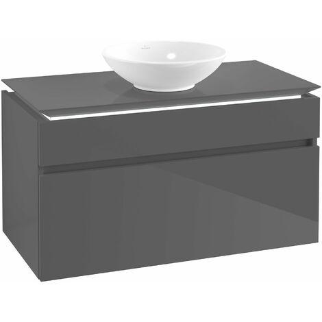 Villeroy & Boch Legato Vanity unit B124, 1000x550x500mm, centrada en el lavabo, iluminación LED, color: Gris brillante - B124L0FP
