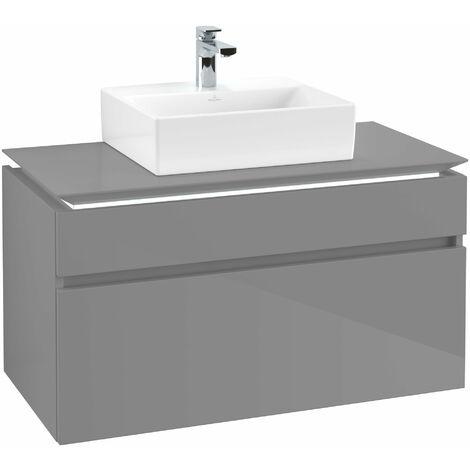 Villeroy & Boch Legato Vanity unit B125L0, 1000x550x500mm, centro lavabo, iluminación LED, color: Gris brillante - B125L0FP