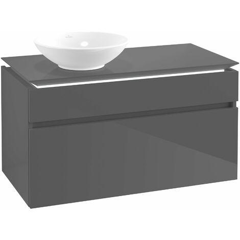 Villeroy & Boch Legato Vanity unit B126, 1000x550x500mm, lavabo a la izquierda, iluminación LED, color: Gris brillante - B126L0FP
