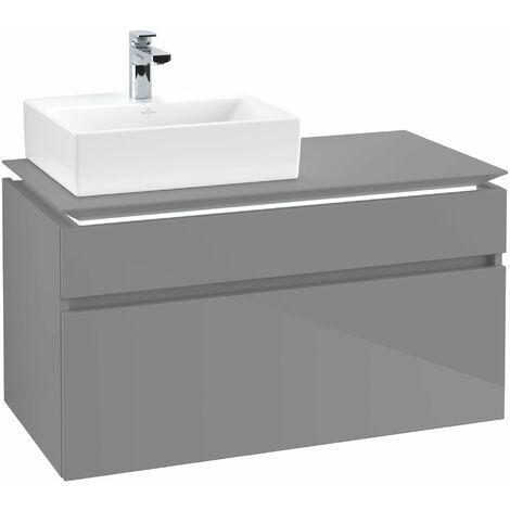 Villeroy & Boch Legato Vanity unit B127L0, 1000x550x500mm, lavabo a la izquierda, iluminación LED, color: Gris brillante - B127L0FP