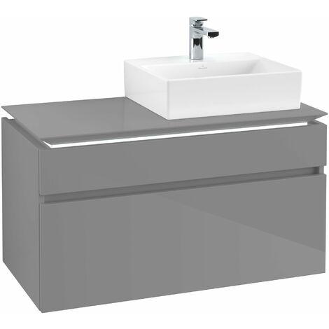 Villeroy & Boch Legato Vanity unit B129L0, 1000x550x500mm, lavabo a la derecha, iluminación LED, color: Gris brillante - B129L0FP