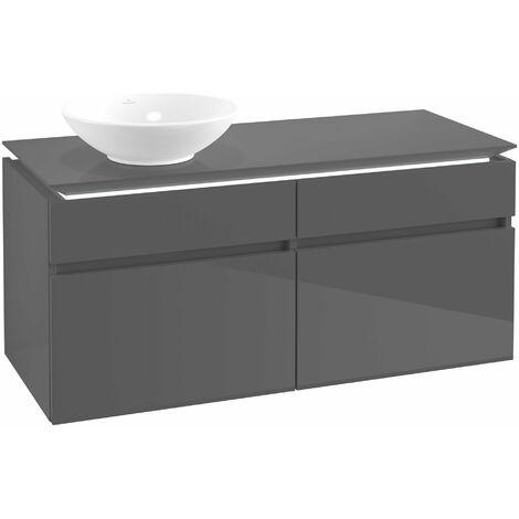 Villeroy & Boch Legato Vanity unit B130, 1200x550x500mm, lavabo a la izquierda, iluminación LED, color: Gris brillante - B130L0FP