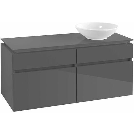 Villeroy & Boch Legato Vanity unit B131, 1200x550x500mm, lavabo a la derecha, color: Gris brillante - B13100FP