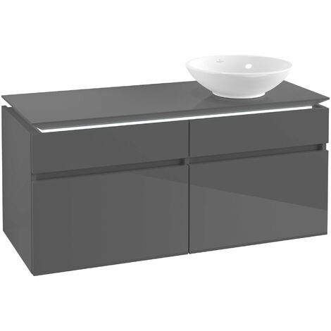 Villeroy & Boch Legato Vanity unit B131, 1200x550x500mm, lavabo a la derecha, iluminación LED, color: Gris brillante - B131L0FP