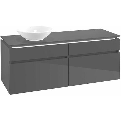 Villeroy & Boch Legato Vanity unit B132, 1400x550x500mm, lavabo a la izquierda, iluminación LED, color: Gris brillante - B132L0FP