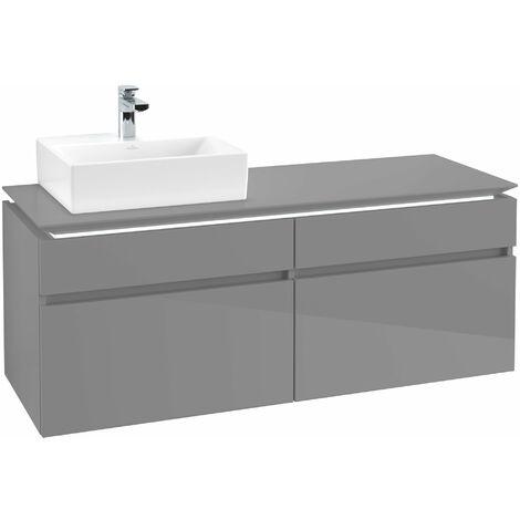 Villeroy & Boch Legato Vanity unit B133, 1400x550x500mm, lavabo a la izquierda, iluminación LED, color: Gris brillante - B133L0FP