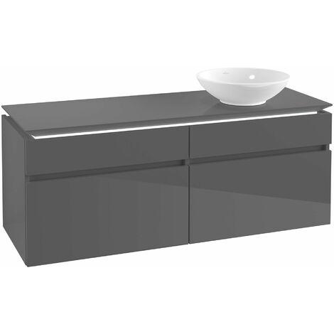 Villeroy & Boch Legato Vanity unit B134, 1400x550x500mm, lavabo a la derecha, iluminación LED, color: Gris brillante - B134L0FP