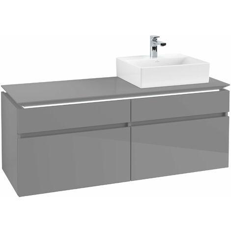 Villeroy & Boch Legato Vanity unit B135, 1400x550x500mm, lavabo a la derecha, iluminación LED, color: Gris brillante - B135L0FP