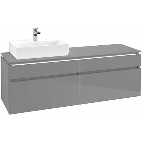 Villeroy & Boch Legato Vanity unit B137, 1600x550x500mm, lavabo a la izquierda, iluminación LED, color: Gris brillante - B137L0FP