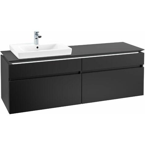 Villeroy & Boch Legato Vanity unit B137L6, 1600x550x500mm, lavabo a la izquierda, iluminación LED, color: Negro Mate Laca - B137L6PD