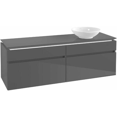 Villeroy & Boch Legato Vanity unit B138 1600x550x500mm, lavabo a la derecha, iluminación LED, color: Gris brillante - B138L0FP