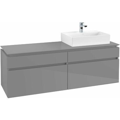 Villeroy & Boch Legato Vanity unit B139, 1600x550x500mm, lavabo a la derecha, color: Gris brillante - B13900FP