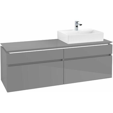 Villeroy & Boch Legato Vanity unit B139, 1600x550x500mm, lavabo a la derecha, iluminación LED, color: Gris brillante - B139L0FP