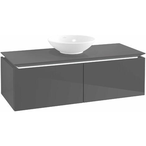 Villeroy & Boch Legato Vanity unit B141L0, 1200x380x500mm, centrada en el lavabo, iluminación LED, color: Gris brillante - B141L0FP