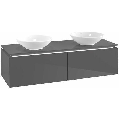 Villeroy & Boch Legato Vanity unit B142 1400x380x500mm, 2 lavabos, iluminación LED, color: Gris brillante - B142L0FP