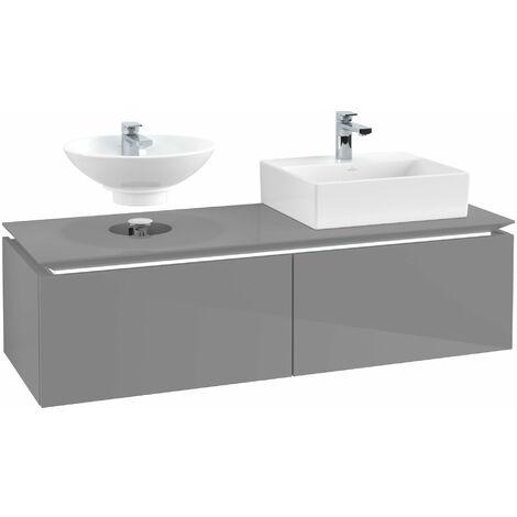 Villeroy & Boch Legato Vanity unit B143, 1400x380x500mm, 2 lavabos, iluminación LED, color: Gris brillante - B143L0FP
