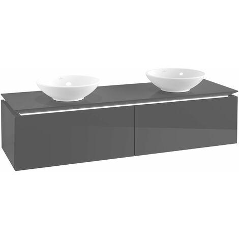Villeroy & Boch Legato Vanity unit B145, 1600x380x500mm, 2 lavabos, iluminación LED, color: Gris brillante - B145L0FP