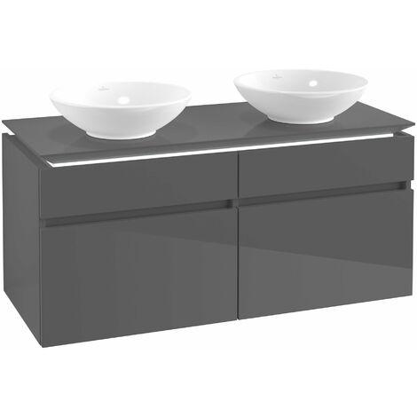 Villeroy & Boch Legato Vanity unit B148, 1200x550x500mm, 2 lavabos, iluminación LED, color: Gris brillante - B148L0FP