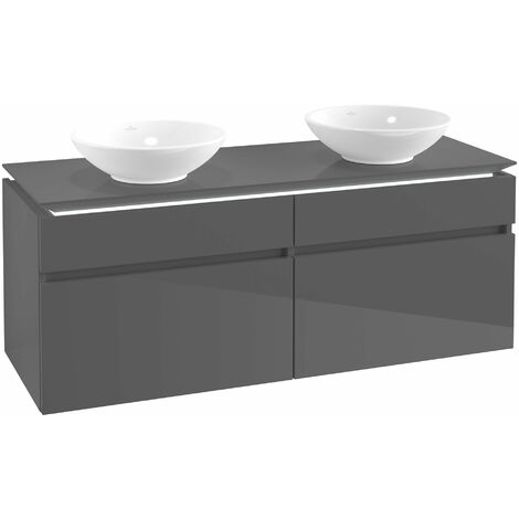 Villeroy & Boch Legato Vanity unit B150, 1400x550x500mm, 2 lavabos, iluminación LED, color: Gris brillante - B150L0FP
