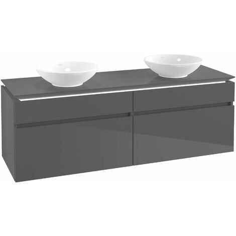 Villeroy & Boch Legato Vanity unit B153, 1600x550x500mm, 2 lavabos, iluminación LED, color: Gris brillante - B153L0FP