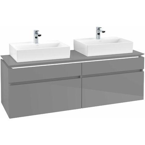 Villeroy & Boch Legato Vanity unit B154 1600x550x500mm, 2 lavabos, iluminación LED, color: Gris brillante - B154L0FP