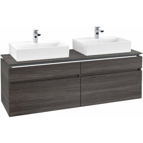 Villeroy & Boch Legato Vanity unit B154 1600x550x500mm, 2 lavabos, iluminación LED, color: Roble Grafito - B154L0FQ