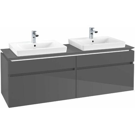 Villeroy & Boch Legato Vanity unit B154L6, 1600x550x500mm, 2 lavabos, iluminación LED, color: Gris brillante - B154L6FP