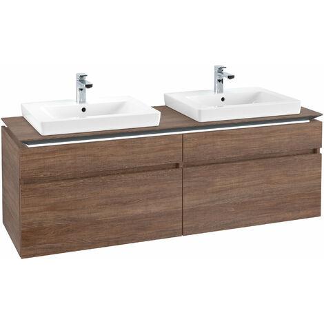 Villeroy & Boch Legato Vanity unit B154L6, 1600x550x500mm, 2 lavabos, iluminación LED, color: Roble Santana - B154L6E1